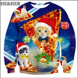 2019 sudaderas unisex de navidad Nueva moda Sudaderas navideñas Funny Cat Pizza Celebrity Impresión en 3D Sudadera con capucha Impreso por completo Mujeres Hombres Unisex Pullover sudaderas unisex de navidad baratos