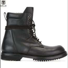 LANCELOT New fashion mens echtes Leder Ankle lace up Stiefel flach dicken  Ferse Chelsea Boots Herren Herbst arbeiten Booties 76c4aee066