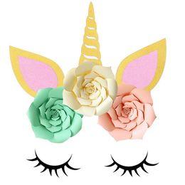 DIY Licorne Thème Partie Décor Ensembles Artificielle Rose Fleurs Cils Anniversaire Décorations De Mariage Bébé Douche Mur Décor Autocollants ? partir de fabricateur