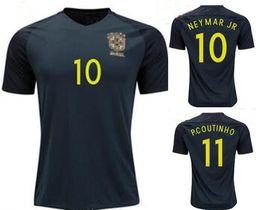 Wholesale Fast Deliver - TOP quality Brazil jersey 2017 18 Soccer jersey Camisa de Dark green Neymar Oscar 3rd away jersey Adult football Shirt men Fast deliver