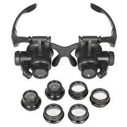 occhiali da orologeria Sconti Fascia 10X 15X 20X 25X LED Light Glasses Magnifier Orologiaio Gioielli Lente Ottica Vetro Lente di Ingrandimento + Lenti Sostituibili