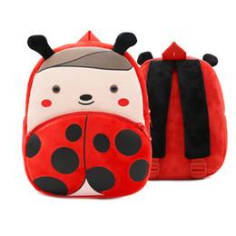Wholesale red nursery - Cartoon Plush Ladybug Backpack Animal Zoo Children Schoolbag Toddler Bags Kindergarten girls boys Gifts Nursery Supplies