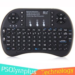 Wholesale mini keys keyboard - Original Rii i8+ 2.4G Wireless Mini Keyboard With Multi-touch up to 15 Meter Touchpad DPI Adjustable Functions 92 Keys QWERTY Keyboards