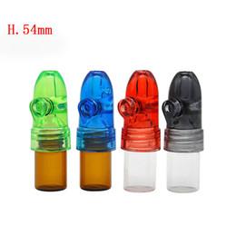 Argentina Acrílico tapa Botella de vidrio Snuff Snorter Dispenser Bullet Rocket Snorter Glass Pill box Frasco con fondo transparente cheap acrylic vial Suministro
