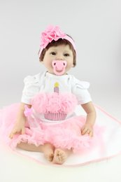"Wholesale Houses Inflatables - Wholesale- Lifelike Silicone Reborn Baby Dolls Soft Vinyl Girl 22"" with Magnet Pacifier for Play House Educational Toys Gift"