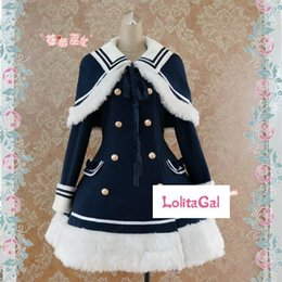 Wholesale Navy Uniforms Women - CMLOLI Classis Sailor Uniform Inspired Navy Blue Long Sleeve Double Breasted Metal Button Wool Winter Lolita Coat Free Shipping