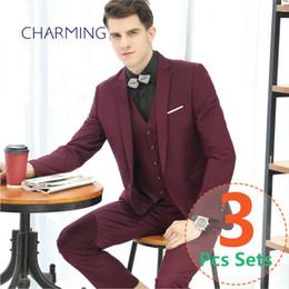 Wholesale Men S Wedding Suit Back - Burgundy suit mens Business attire Formal suits for men Suitable for business suits for Mens wedding suit s 3pcs suits