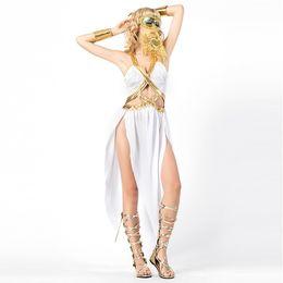 Argentina Disfraces de Diosa griega sexy blanco Mujeres adultas de Halloween Princesa romana Cosplay Fancy Party Vestido de Cleopatra Athena W158841 Suministro