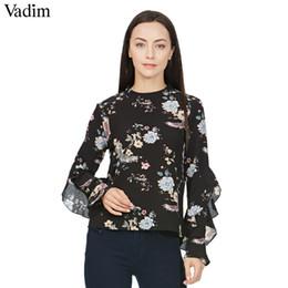 Blusa suelta de mariposa online-Mujeres dulce manga de mariposa camisa de impresión floral vintage collar del soporte blusas sueltas mujer casual retro marca tops blusas LT1545