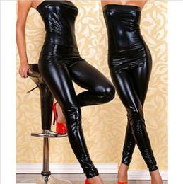 Wholesale Dj Canvas - Novelty PU Leather Women Jumpsuits Nightclub Bar DJ Costumes Pole dancing Clothes