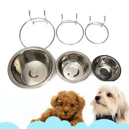 2018 Ciotola per gatti per cani può appendere cani stazionari Ciotole per gabbie Ciotola per appendere in acciaio inox Ciotola per cani stazionaria a tre dimensioni da