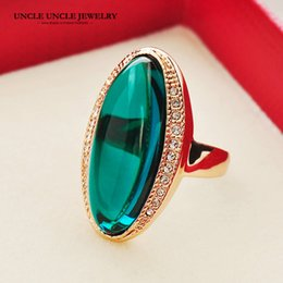 Wholesale Rose Shape Rings - Trendsetter Style Party Ring Rose Gold Color Green Crystal Long Shape Lady Finger Ring Wholesale Gift