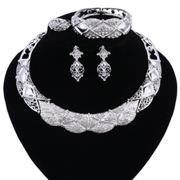 Wholesale vintage wedding costume jewelry - Jewelry Set Necklace and Earrings Sets Designer Vintage African Costume Women Wedding Accessories Silver Color Jewellery