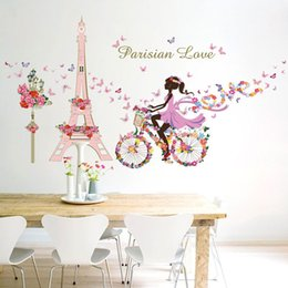 Wholesale Eiffel Wall Decor - Magical Fairies Flower Angel Eiffel Tower Wall Sticker Home Decor Wallpaper for Kids Children Room Decoration Free shipping