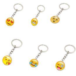 Catene di smiley online-Collana di smiley alla moda Ciondoli emoji Portachiavi sorriso Regali di amici portachiavi Faccina portachiavi