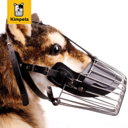 Wholesale Dog Collar Wire - KIMHOME PET Strong Metal Wire Basket Dog Muzzle Basket Design Anti-biting Adjusting Straps Mask Chew Muzzles Free Shipping XXL