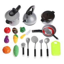 Wholesale Children Cooking Sets - 19 Pcs Set Children Kitchen Cooking Tackle Toy Imagination Games Model Tableware
