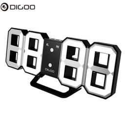 Большие дисплеи цифровые настенные часы онлайн-Digoo DC-K3 8 Inch Multi-Function Large 3D LED Digital Wall Clock Alarm Clock With Snooze Function 12/24 Hour Display Clocks