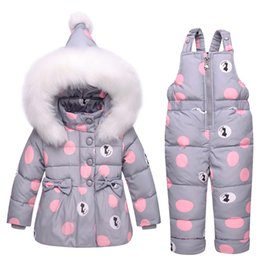 polka dot jumpsuit toddlers Promo Codes - New Infant Baby Winter Coat Snowsuit Duck Down Toddler Girls Winter Outfits Snow Wear Jumpsuit Bowknot Polka Dot Hoodies Jacket