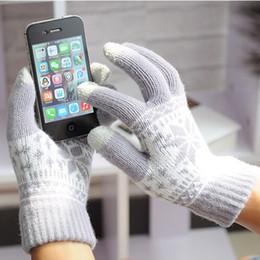 schneeflocke Rabatt 2016 neue kostenloser versand Frauen Schneeflocke Touchscreen Gestrickte Handschuhe für iPhone iPad Smartphone Magie Winter Neue Unisex