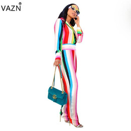 e5c20c7486b VAZN 2018 Sexy Fashion Top Design Night Women Jumpsuit Striped Turn-down  Collar Full Sleeve Long Bodycon Romper DN8093