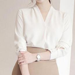 2019 fã de chiffon Primavera e no outono de 2018 novo Coreano cor pura camisa de chiffon mulheres han fã V colarinho manga comprida camisa solta mulheres b88 desconto fã de chiffon