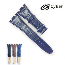 Wholesale genuine leather watches - Cbcyber 26mm Genuine Leather Watchband for brand watches with buckle,men's watches strap for luxury wristwatch