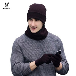 Wholesale mitten scarf - VBIGER 3pcs Women Men Winter Warm Knitted Hat Skullies Beanies Set Unisex Bonnet with Scarf Gloves Fashion Cap Shawl Mittens