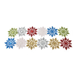 gold glitter shorts Promo Codes - Colorful 1 PCS 6 Colors Plastic Glitter Snowflakes New Year Glitter Christmas Snowflakes Baubles XMAS Tree Ornament Decoration