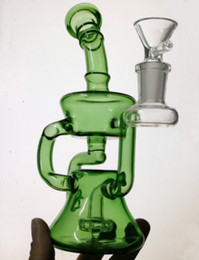 Wholesale Bow Types - New glass water pipe handmade bongs two colors Glass bong Smoking Pipe glass recycler with bow