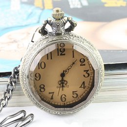 Wholesale palace crystals - AAA Vintage Quartz Pocket Watch Necklace Pendant Chain Clock Women Men Gifts Simple Round Dial Polygonal Crystal Palace