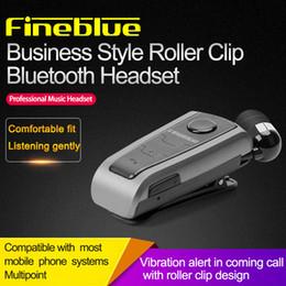 Bluetooth vibrante online-Fineblue Mini auricolare Bluetooth senza fili portatile Auricolare In Ear Vibrating Alert Wear Clip Hands Free Auricolare in confezione da imballaggio