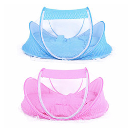 Wholesale Dot Net - 3pcs lot 0-36 Months Baby Bed Portable Foldable Baby Crib With Netting Newborn Sleep Bed Travel Mosquito Net Bedding