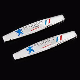 Wholesale gluing metal - 3D France National Flag Badge Metal Alloy Fender Trunk Tail Emblem Sticker Car Styling for Peugeot Sport 307 206 408 508 406 3008