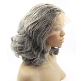 Wholesale Grey Synthetic Wigs - Short Bob Grey Synthetic Lace Front Wig Heat Resistant Fiber Silver Body Wave Wig High Quality Gray Glueless Natural Synthetic Hair Wigs