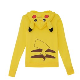 Wholesale New Women Front Open Cardigan - 2017 autumn and winter new fashion women's jacket, yellow cartoon Pikachu loose, opening the front zipper, long sleeve hooded.