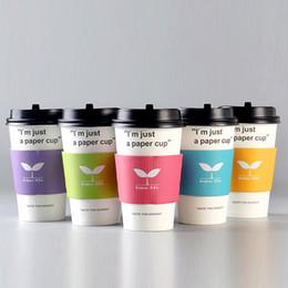 Wholesale paper coffee cups wholesale - 100 pcs disposable Cup sleeve 8 colors Enjoy Life Double-deck kraft paper coffee Cup sleeve Anti-hot Customized