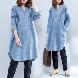 Wholesale Loose Long Summer Dresses - 2018 Summer Spring dress for women Long sleeve Loose linen V neck Women Dresses Blue colors