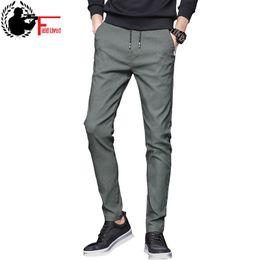 566309b9f6bf Summer Mens Stretch Pants Korean Casual Slacks Slim Straight Fit Elastic  Waist Jogger Chino Dress Trousers Male Black Blue Green