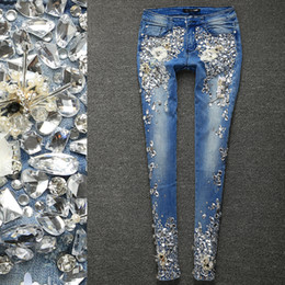 алмаз плюс  Скидка  Women  Rhinestones Diamond Leggings Denim Jeans Women Pants Skinny Stretch Plus Size Pencil Slim Vintage Trouser