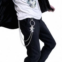 Cinturón Retro Pantalones de cadena Rock Punk Pantalones de época Hipster  Jean Llavero Anillo de plata Anillo de Clip Llavero Hombres HipHop joyería ab4714e5215d