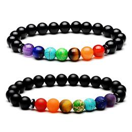 2019 braccialetti nuovi prodotti Nuovi prodotti Beads Hot Yoga 8mm Bracciale Aura nero onice naturale della pietra Scrub gioielli 7 Chakra braccialetto della signora di modo di alta qualità sconti braccialetti nuovi prodotti