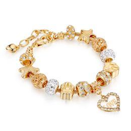 Fascini di braccialetto di pandora di valentine online-Charms in cristallo Love Gold per bracciali Pandora Gioielli moda donna regalo di San Valentino