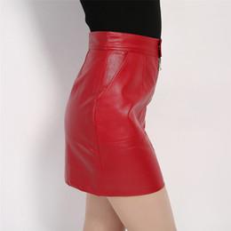 Argentina 2018 Mujeres Falda de cuero de imitación Sexy PU Mini falda con dos bolsillos de alta calidad A-Line Red vestido básico Suministro