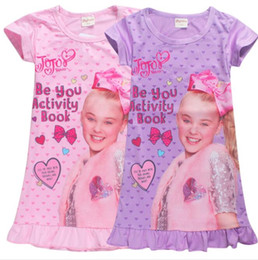 Wholesale novelty sleepwear - kids Casual Sleepwear dress Girls Princess JoJo Siwa Dress Nightwear Short Sleeve Dress Sleepwear Night Skirts KKA5614
