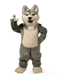 Trajes de personagens on-line-2018 chique cão cão Husky cinza com a aparência do traje de mascote do lobo Mascotte adulto Cartoon personagem festa