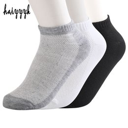 Носки для больших мужчин онлайн-Wholesale- 5Pairs Solid Mesh Men's Socks Invisible Ankle Socks Men Summer Breathable Thin Boat Socks chaussettes homme lot Big Size 38-43
