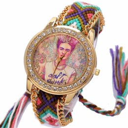 Vintage geneva наблюдает за женщинами онлайн-Rainbow Geneva Watch Women vintage hippie Mexican Rhinestone Style dial Fridas Fashion wristwatch Lace Chain Braid Reloj