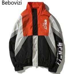 c76f7214b5a Bebovizi Hip Hop Windbreaker Men Harajuku Color Block Patchwork Jacket Coat  Casual Unisex Track Jacket Streetwear Clothes Girls