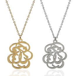 Wholesale Gold Necklace Patterns Women - TL Gold Silver Filled Stainless Steel Bear Necklace Jewelry Flower Pattern Pendant Link Chain Necklace For Women Jewelry